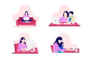 young woman sitting on sofa using laptop working from home vector