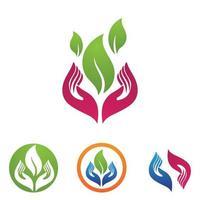 mano y hoja, logotipo y símbolo, naturaleza, vector