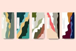 Set packaging template. Line pattern in style with Japanese pattern vector