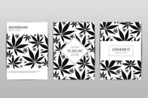 Set of cards with pattern of marijuana leaves for label, poster, web vector