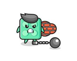Character mascot of brick toy as a prisoner vector
