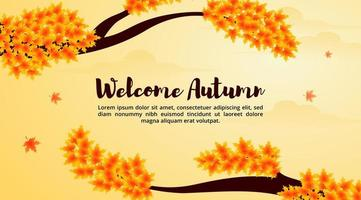 Welcome autumn background with a maple tree and falling leaves vector