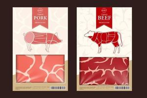 Vector beef packaging or label. Cow icon. Meat beefsteak texture