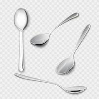 Set 3d of realistic metal spoons from different points of view vector