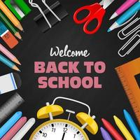 Back to school background with stationeries and chalkboard vector