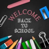 Back to school background with stationeries and chalk writing vector