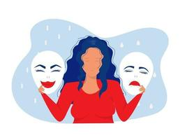 woman holding masks with happy and sad expressions. vector