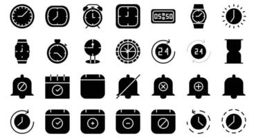 time date icon set vector