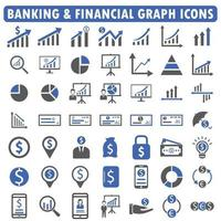 banking and financial graph icon set blue series vector