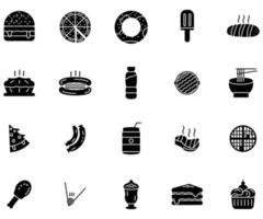 fast food icon solid style vector