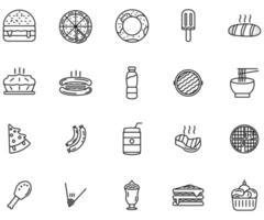 fast food icon line style vector