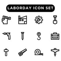 labor day icon set outline style vector