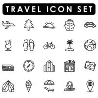 summer icon set line style vector