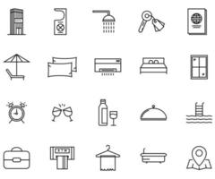 travel Holiday icon set line style vector