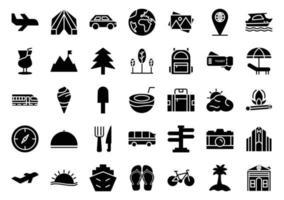 summer icon set glyph style vector