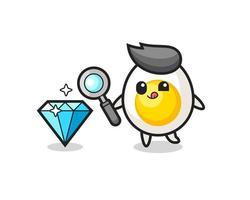 La mascota del huevo cocido está comprobando la autenticidad de un diamante. vector