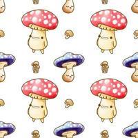 cute mushroom watercolor seamless pattern vector