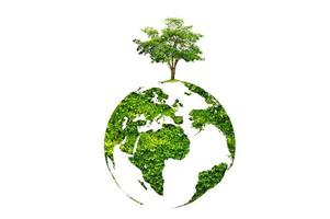 Earth Day tree on green earth on white isolated background photo