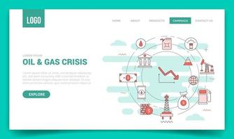 oil crisis concept with circle icon for website template vector