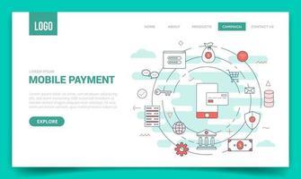 concepto de pago móvil con icono de círculo para plantilla de sitio web vector