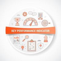 Indicador clave de rendimiento kpi con concepto de icono vector