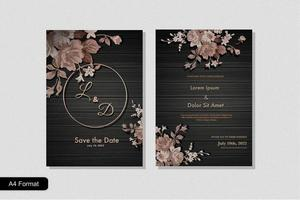 Luxury and Elegant Black Golden Wedding Invitation Template vector