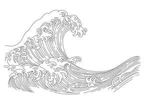 Japanese wave line art vector illustration.