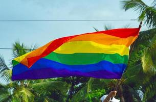 A hand holds a rainbow flag of the LGBTQ movement, green in background photo