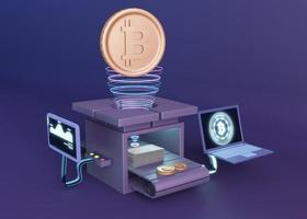 3d cryptocurrency rendering modern design photo
