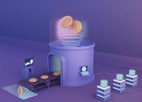 Diseño moderno de renderizado de criptomonedas 3d foto