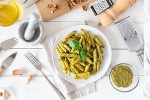 Preparing Italian pesto sauce photo