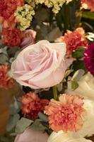 Beautiful arrangement flowers with copy space photo