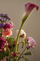 Hermoso arreglo de flores con espacio de copia foto