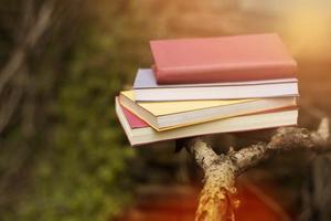 Close up colorful books pile photo