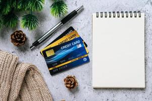 Diary, stationery and credit card photo