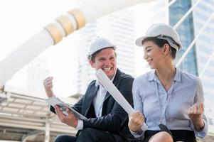 Portrait of civil engineers man and woman photo