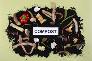 Composition compost made rotten vegetables photo