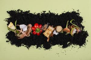 The composition compost made rotten food photo