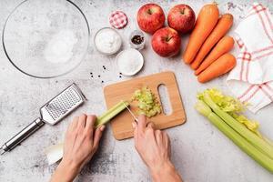Making celery salad photo