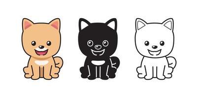Vector cartoon set of pom pomeranian dog