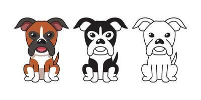 vector, caricatura, conjunto, de, boxer, perro vector