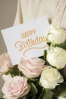Happy birthday card with flowers assortment photo