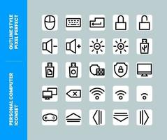 Personal Computer Icon Set Outline Style Pixel Perfect vector