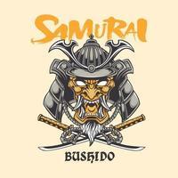 illustration samurai and typography vector design concept