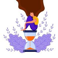 girl sitting hourglass vector