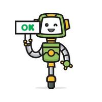 cartoon of cute robot holding sign board ok vector
