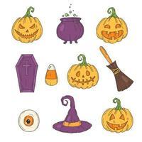 Halloween icons color set. Hand drawn Pumpkin Jack vector