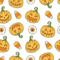 Seamless pattern with Halloween colored Pumpkin Jack vector