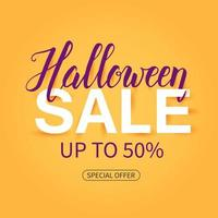Halloween Sale poster with hand drawn lettering. offer vector