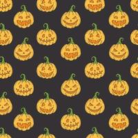Seamless pattern with Halloween colored icons on black vector